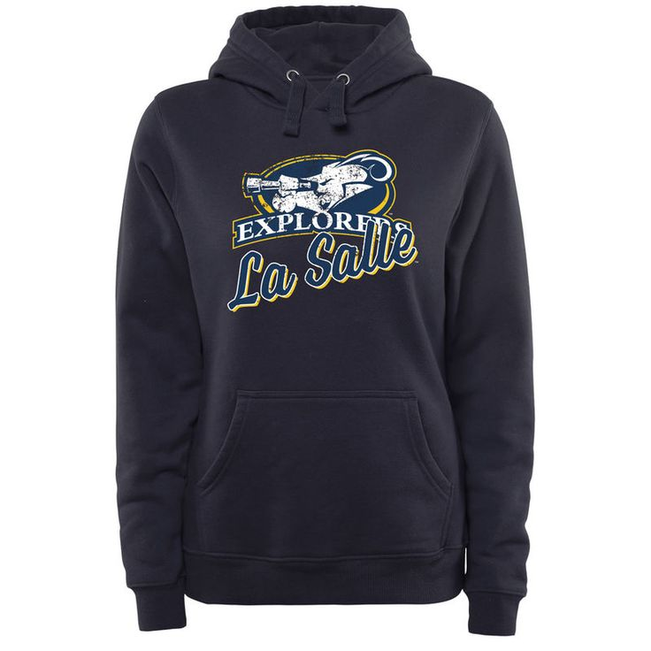 La Salle Explorers Women's Plus Sizes Slant Script Pullover Hoodie - Navy 1