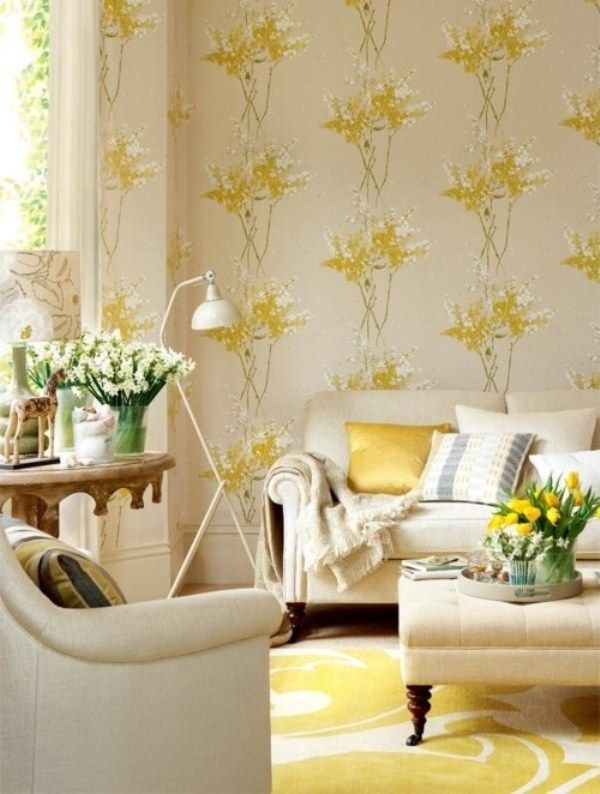 Yellow and Beige Living Room Design