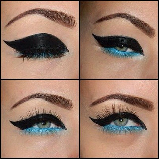 Thick Wing Liner w/ a pop of turquoise