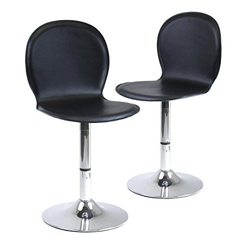 Winsome Wood S/2 Metal/Faux Leather Swivel Chairs