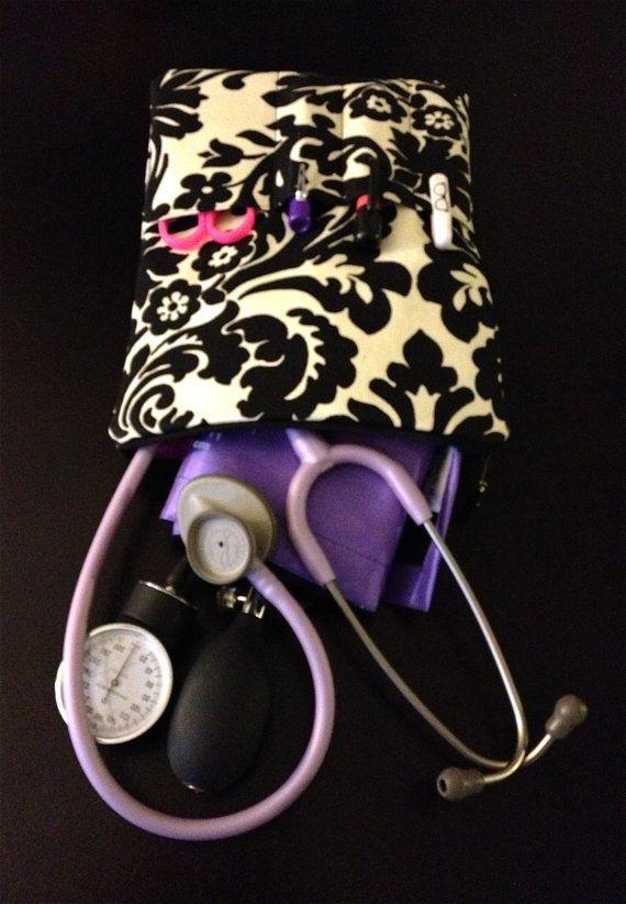 #NURSE PURSE medical case stethoscope and BP cuff case in black by LoveAmarie, $38.00 @Julie Forrest Perrigo Magazine @Megan Ward Ward Marie #nursing #cna #lpn #doctor #damask #black #beige #hospital #accessory #stethoscope #supplies #carryall