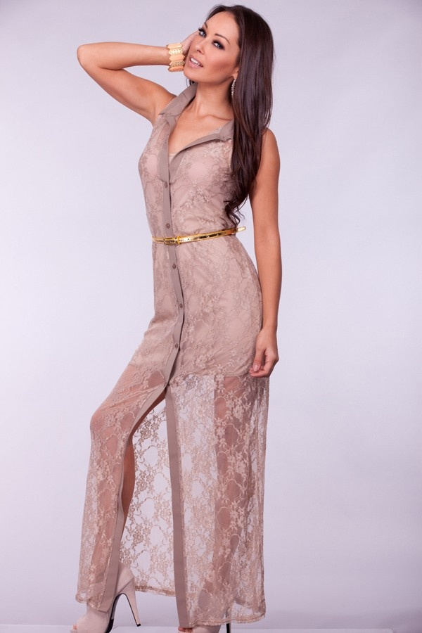 TAUPE COLLAR BUTTON DOWN LACE OVERLAY MAXI DRESS