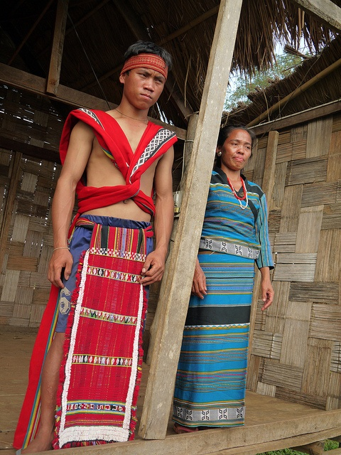 Sekong, Laos. Katu villagers in their traditional clothing.