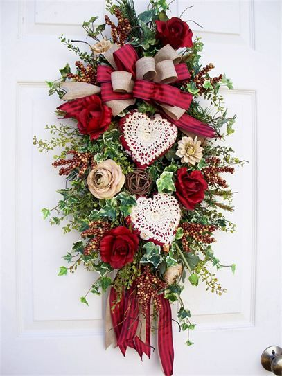 valentine swags,  Timeless Floral Creations. Holiday, wreath, swag, floral, flowers, door decoration