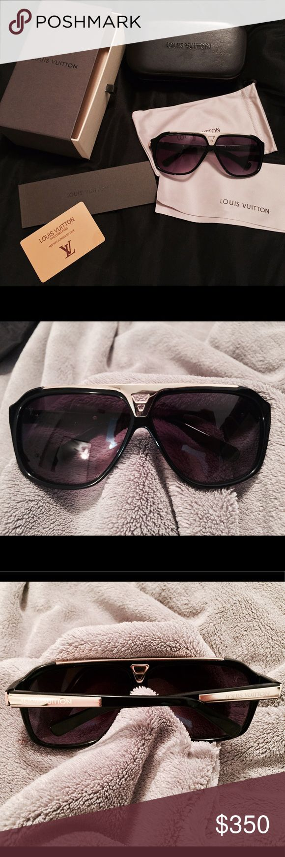 Louis Vuitton Evidence Sunglasses Like new, hardly worn Evidence sunglasses. Originally sold as Men's but I love how it looked on me. Comes with everything in the picture. Box, cases, dust bag, cleaning cloth, booklet, and card. Beautiful piece!! Louis Vuitton Accessories Sunglasses