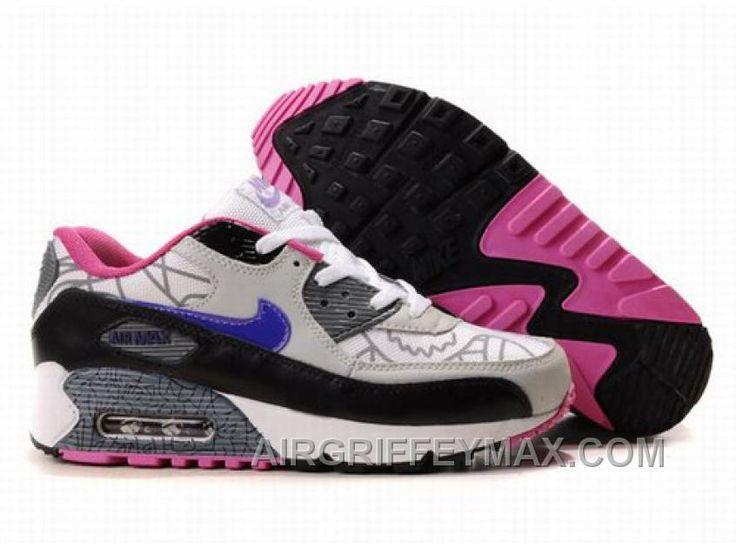 Discount Women's Nike Air Max 90 White/Grey/Black/Blue, Price: $104.52