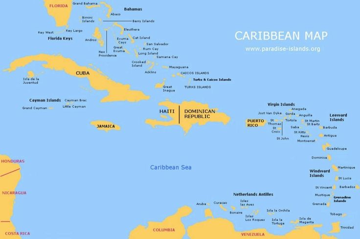 Map Of Caribbean With Countries Labeled Cycle Week - Map of carribean