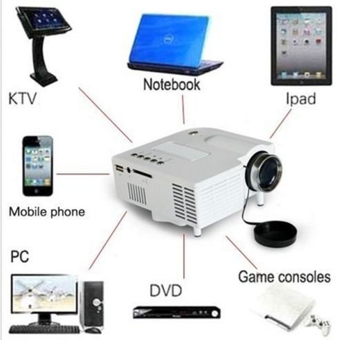New Mini HD P LED Projector Home Cinema Theater Multimedia PC USB SD TV AV HDMI