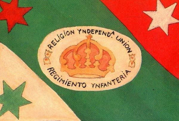 Bandera Trigarante.-  México por fin es una nación independiente y Agustín de Iturbide designa los tres colores que hasta ahora permancen vigentes: verde, blanco y rojo, aunque en otro orden al actual y de manera diagonal; esta bandera fue declarada como oficial de México el 2 de noviembre de 1821 y fue sustituida en 1823.
