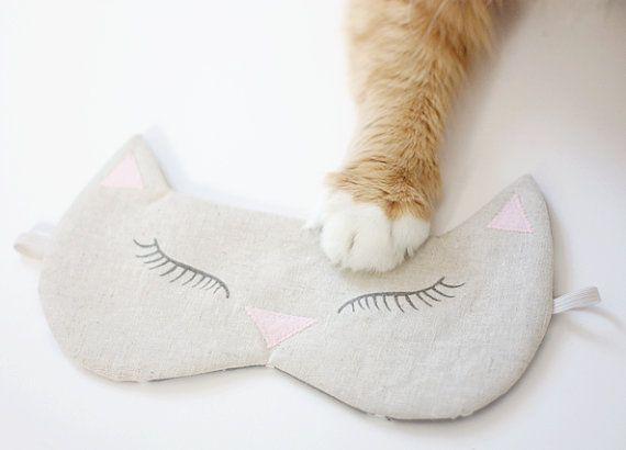 Blush Pink Kitty Sleep Mask, Cat Sleeping Mask, Linen Eye Mask, Light Blocking Sleeping Mask, Lilac, Blush, Mint Kitty or Fox Sleeping Masks