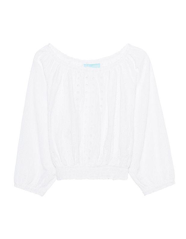 Off-Shoulder-Bluse Die weiße Bluse aus hochwertiger Baumwolle kommt im geraden, kurzen Schnitt mit gerafftem elastischen Off-Shoulder-Ausschnitt, halblangen Ärmeln sowie elastischem Bund und süßer Strick-Musterung.  Das sexy Luxus-Piece für einen Trip in den Süden!