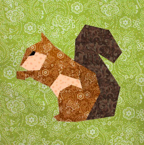Squirrel quilt block, paper pieced quilt pattern, PDF pattern, instant download, paper pieced quilt block pattern