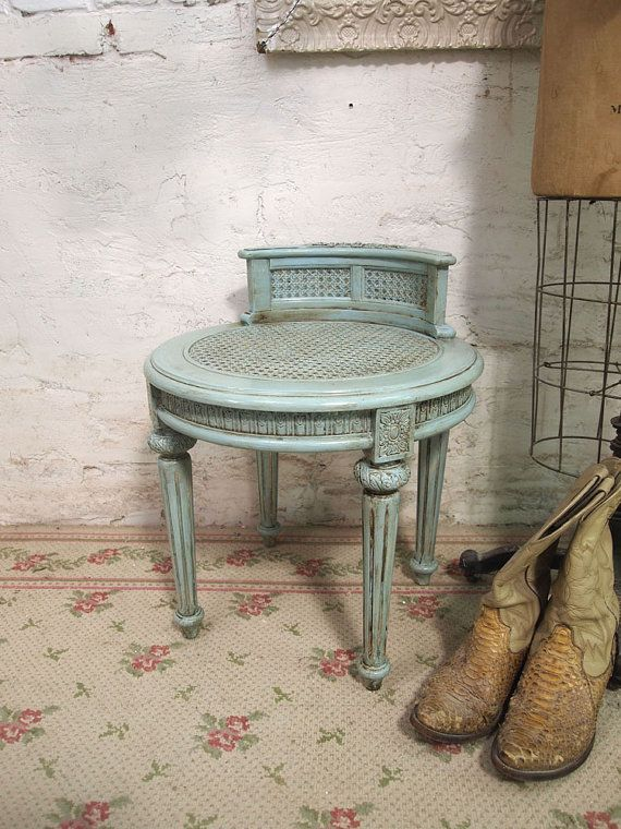 perfect for a little princess!!!   Painted Cottage Romantic Aqua Chic Stool ST201 by paintedcottages, $159.00