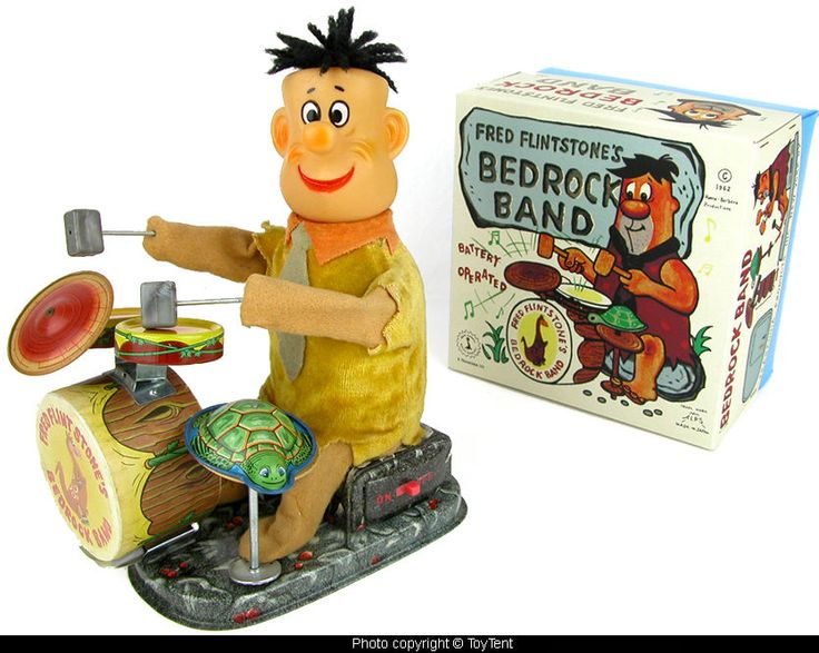 Fred Flintstone Bedrock Band battery operated drum set Alps Japan #Alps