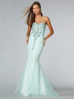 Lace Sweetheart Floor-length Trumpet/Mermaid Rhinestone Prom Dresses -NZD$261.39