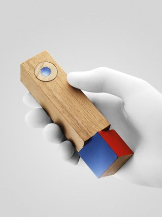 """EPFL + ECAL Lab Hilal Koyuncu, Leif Percifield and Francisco Zamorano of Parsons - """"Twistymote"""". A wood wand with a four colour turning base that customises function."""