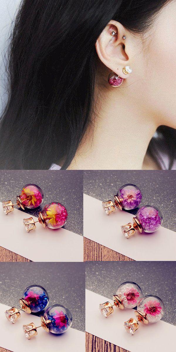 [ ONLY$3.56 ] 2 Style Wish Ball Earrings Sweet Glass Flower Ball Rhinestone Earrings