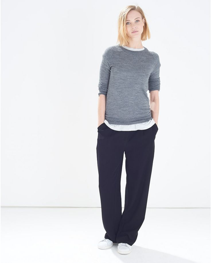 Black Crepe Wide Leg Trousers and trainers. Love this look.