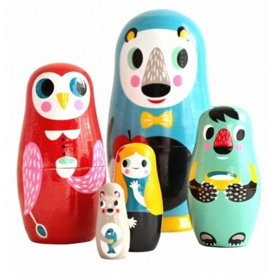 Set of hand painted wooden nesting dolls  by Helen Dardik for PSikhouvanjou