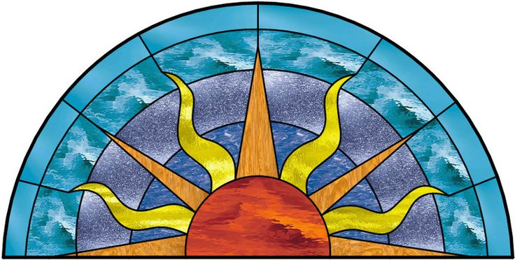 Round Top Stained Glass Window With Borders and Sun design