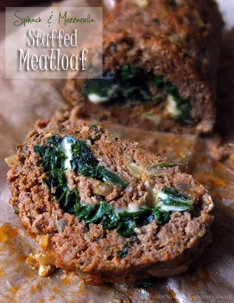 Spinach & Mozzarella Stuffed Meatloaf