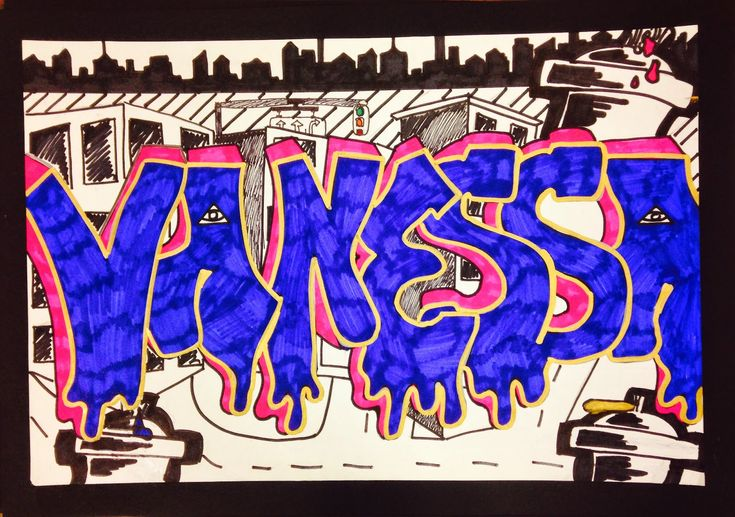 Sylvandale Middle School Art Class: Graffiti Name Tag