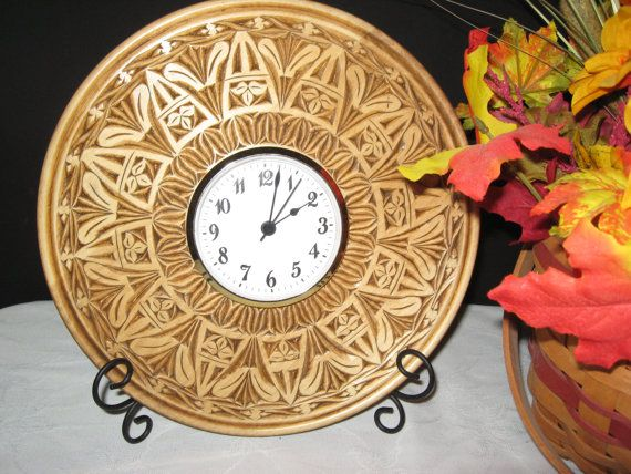 Hand carved wood desk table inch clock plate by