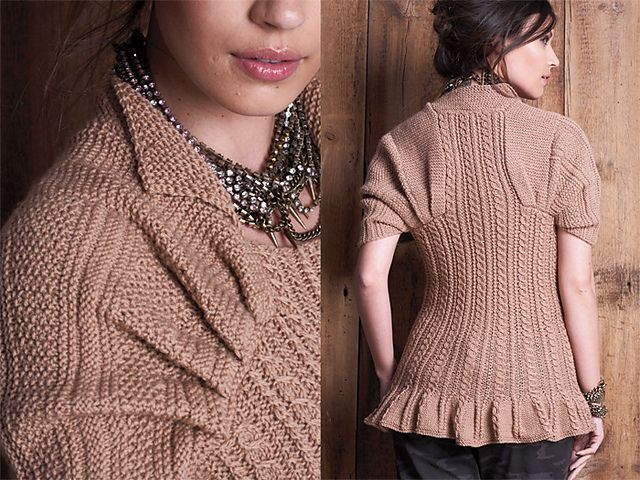 #17 Flounced Pullover by Vladimir Teriokhin - Close-fitting, corset-inspired pullover, made from the top down, with flounced hem and pleated sleeves. From Fall 2010 issue of Vogue Knitting, knit with Zealana Willow DK yarn.