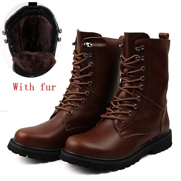 fdf445592a0 CcharmiX Men's Moto Boots Outdoor Mid-calf Army Boots Men's Leather ...