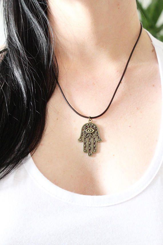 Antique gold Hamsa leather UNISEX necklace / choker boho
