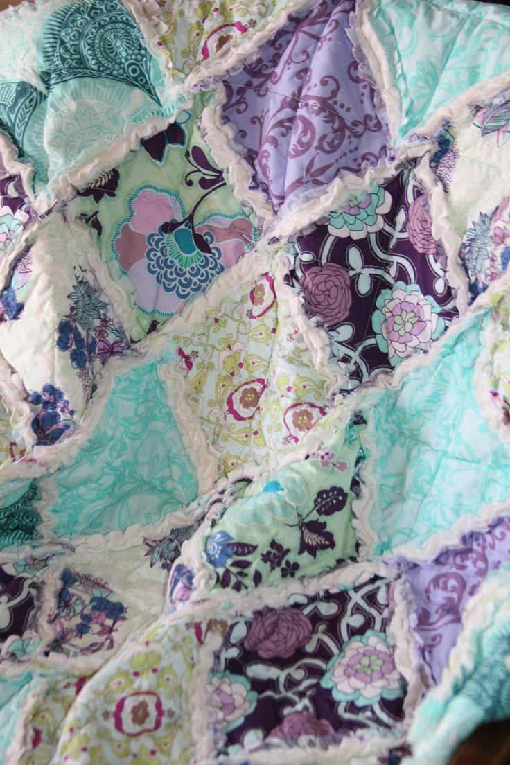 teal nursery | Baby Girl Rag Quilt Purple Teal Aqua Nursery Ready to by justluved