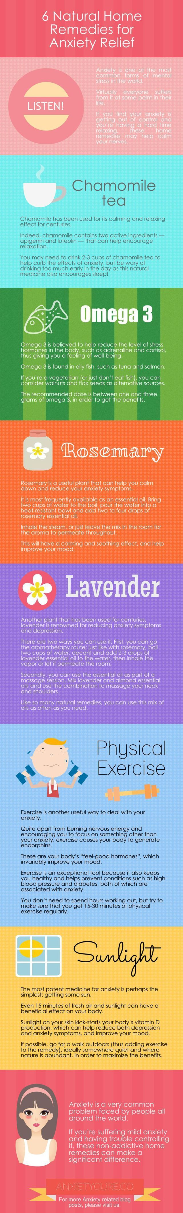 Psychology : 6 Natural Home Remedies for Anxiety Relief Infographic #anxiety