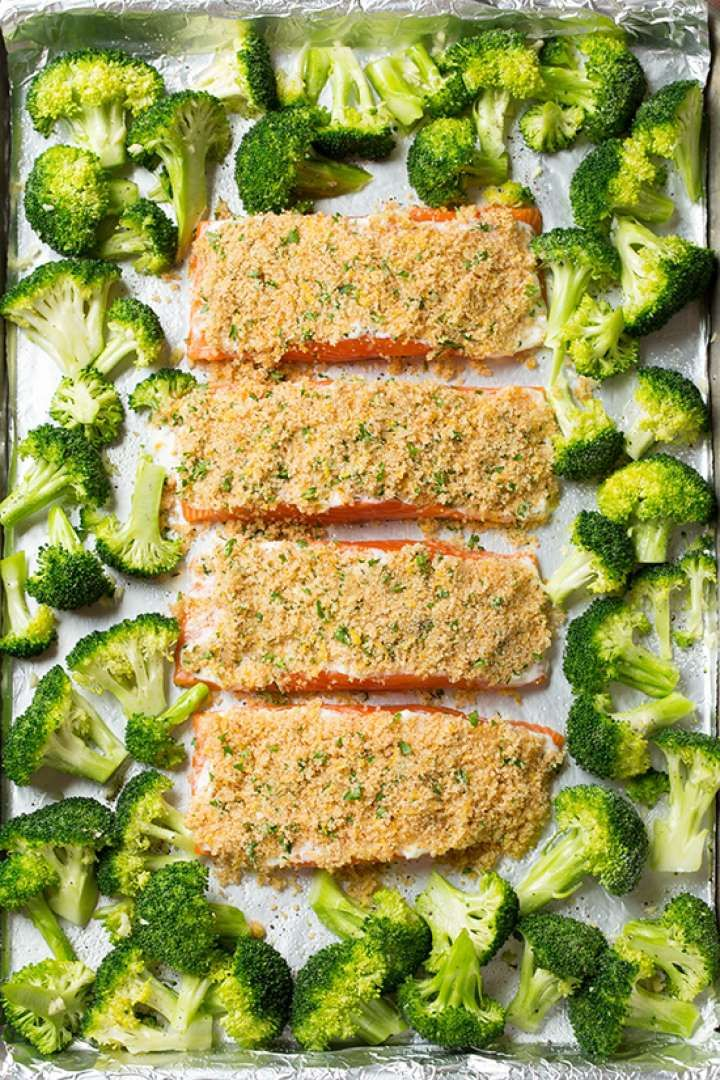 Cheese-crusted salmon and garlicky broccoli is a healthy, satisfying dinner you can bake up all at o... - Cooking Classy
