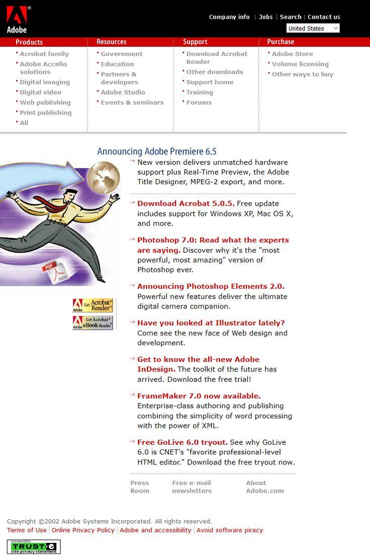 Adobe website 2002