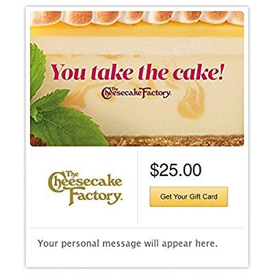 The Cheesecake Factory Gift Cards - E-mail Delivery -- Wow! I love this. Check it out now! : Gift cards