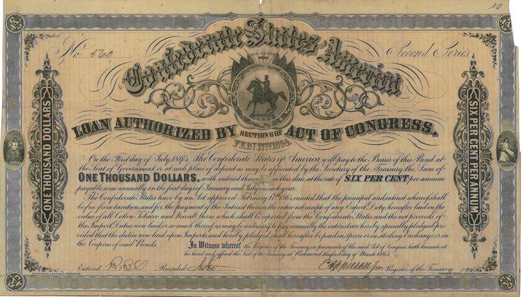 Confederate States of America - #scripomarket #scriposigns #scripofilia #scripophily #finanza #finance #collezionismo #collectibles #arte #art #scripoart #scripoarte #borsa #stock #azioni #bonds #obbligazioni