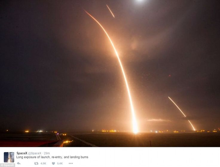 Elon Musk makes space travel history: Billionaire's SpaceX rocket blasts into orbit, launches 11 satellites then makes an amazing landing back on Earth.  This long-exposure picture tweeted by the SpaceX team shows the SpaceX Falcon 9 lifting off (left) from its launch pad and then returning to a landing zone (right) at the Cape Canaveral Air Force Station.