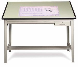 Safco Professional Drafting Table - 37frac12; x 72, Drafting Table Top, Light Green by Safco. $405.00. Traditional 4-post table of heavy-gauge steel with bottom stabilizing bars. Board angle is easily adjustable without tools. Top surface has high-pressure laminate finish. Has locking tool drawer, plus a reference drawer.