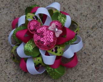 Red Christmas Hair Bow Loopy Flower Hair Bow Minnie by AmazinGems