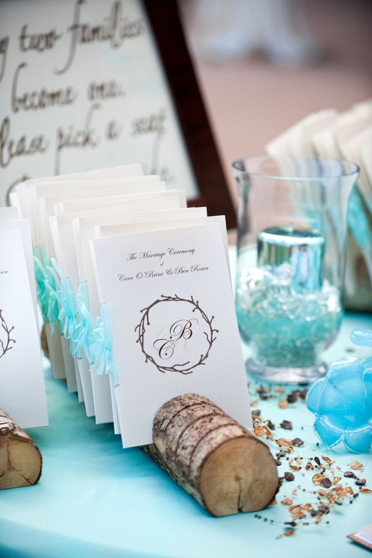 Tiffany Blue And Brown Wedding Programs Table At Cheyenne Mountain Resort Colorado Springs