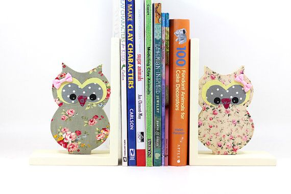 Childrens bookends Wooden Owl kids room by PrettymShop on Etsy
