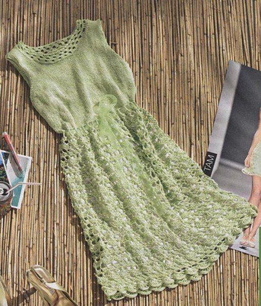 Салатовое платье крючком