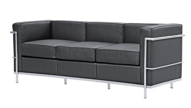 cube le corbusier lc2 style petit sofa black leather. Black Bedroom Furniture Sets. Home Design Ideas