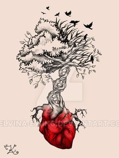 The Used Tree With Heart Tattoo the fabric of life art print by rené ...