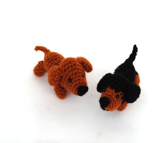 crochet dachshund tiny stuffed pet little door tinyworldbycrochAndi