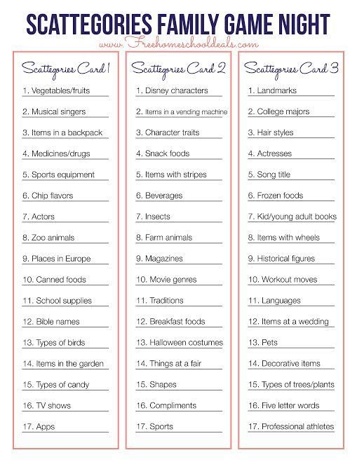 FREE SCATTEGORIES GAME PRINTABLE (Instant Download)
