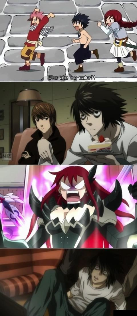 erza scarlet in angry, bcz of the strawberry cake (?) hhaa... Ryuzaki (L) likes it so much... <3