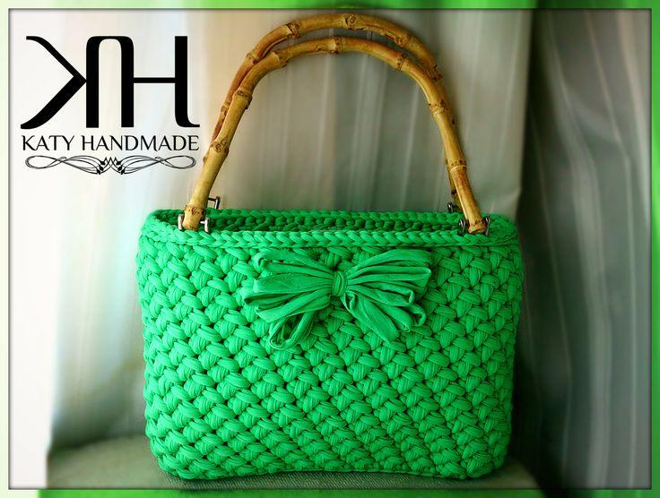 crochet bag - borsa ad uncinetto con manici in bamboo By Katy Handmade