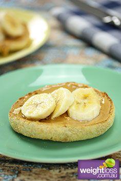 Peanut Butter & Banana English Muffin. #HealthyRecipes #DietRecipes #WeightLossRecipes weightloss.com.au