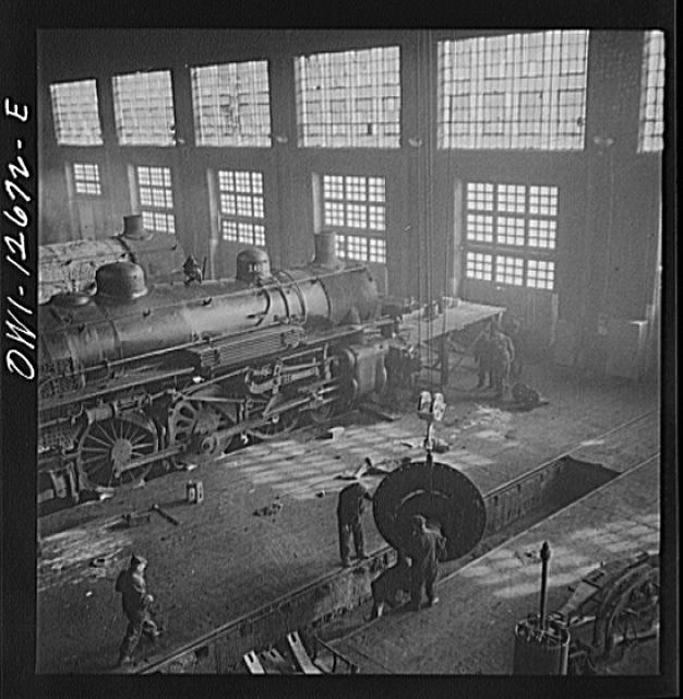 railway work shop This undated photograph shows the inside of doncaster plant's crimpsall shop with a diagram  all sales go towards funding the work of the national railway.